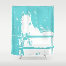 White Horse - Turquoise Shower Curtain