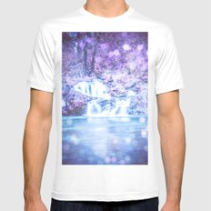 Waterfall - Nature Water Magical Blue Waterfall White MEDIUM Mens Fitted Tee