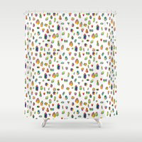 crystals Shower Curtains featuring Crystals by Leah Zobott