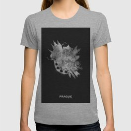 Prague, Czech Republic Black and White Skyround / Skyline Watercolor Painting (Inverted Version) T-shirt