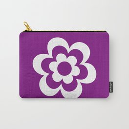 White And Purple Flower Carry-All Pouch