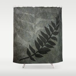 Pantone Pewter Gray Abstract Grunge with Fern Leaf - Foliage Silhouettes Shower Curtain