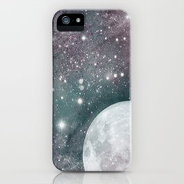 Cosmic Blue and Purple Sky with Moon  iPhone Case