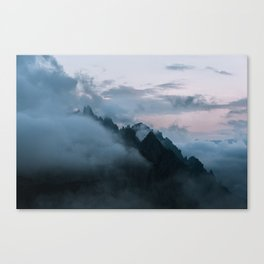 Dolomite Mountains Sunset covered in Clouds - Landscape Photography Canvas Print