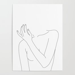 Woman's body line drawing - Fad Poster