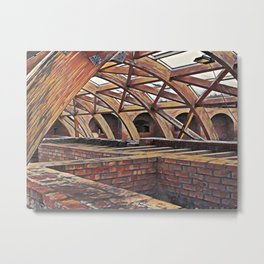 Wooden dome shaped like construction over bricks structure Metal Print