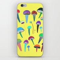 mushrooms iPhone & iPod Skins featuring Mushrooms  by Ashley Percival illustration