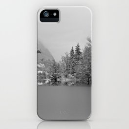 Partly Frozen Lake Bohinj Mono iPhone Case