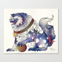 foo fighters Canvas Prints featuring Foo Dog by Chanel Harris