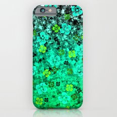 LUCK OF THE IRISH Colorful Emerald Green Ombre St Patricks Day Floral Shamrock Four Leaf Clover Art iPhone 6s Slim Case