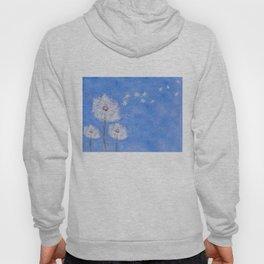 flying dandelion watercolor painting Hoody