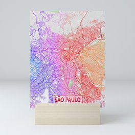 São Paulo City Map of Brazil - Colorful Mini Art Print