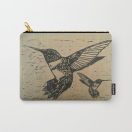 Humming birds lino print Carry-All Pouch