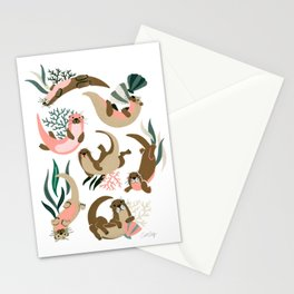 Otter Collection on White Stationery Cards