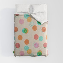 Smiley Face Stamp Print Comforters
