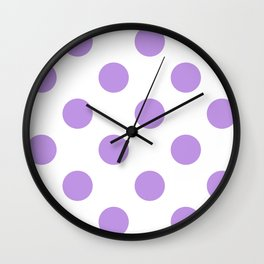 Large Polka Dots - Light Violet on White Wall Clock