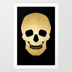 Gold Skull on black Art Print