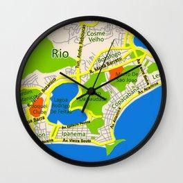 RIO map design - Brasil Wall Clock