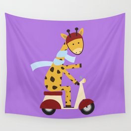 Giraffe on Motor Scooter Wall Tapestry