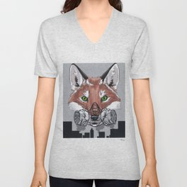 Can't Breath: environmental awareness; fox in the city Unisex V-Neck
