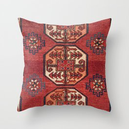 Orange Red Turkestan Medallions II 19th Century Authentic Colorful Geometric Vintage Patterns Throw Pillow