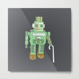 Robot retires Metal Print