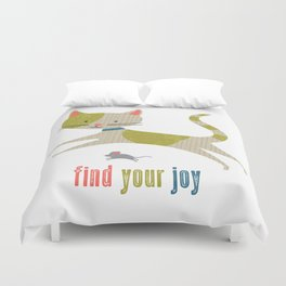 Find Your Joy Cat and Mouse Duvet Cover