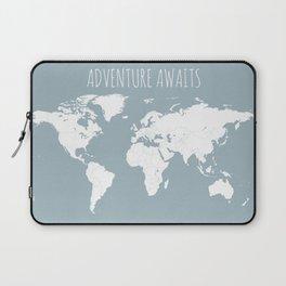 Adventure Awaits World Map in Slate Blue Laptop Sleeve