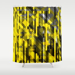 abstract composition in yellow and grays Shower Curtain