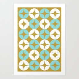 Atomic Age Midcentury Modern Neutra Minimalist Pattern in Aqua and White on Burnished Gold Art Print