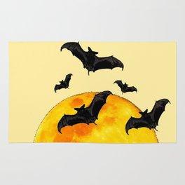 BLACK FLYING BATS FULL MOON ART Rug