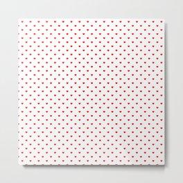 Mini Australian Flag Red Love Hearts on White Metal Print