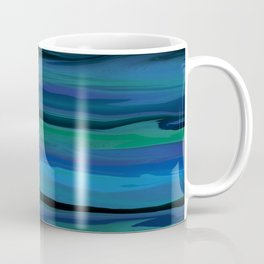 Slate Blue, Aqua, and Onyx Black Stripes Abstract Coffee Mug