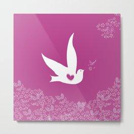 Wings of Love - Purple Metal Print