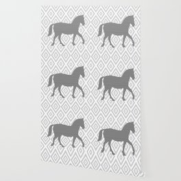 Horse - Abstract geometric pattern - gray, black and white. Wallpaper