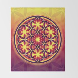 FLOWER OF LIFE batik style yellow red Throw Blanket