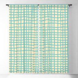 coconut cream aqua ocean thread random cross hatch lines checker pattern Blackout Curtain