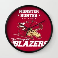 monster hunter Wall Clocks featuring Monster Hunter All Stars - The Minegarde Blazers by Bleached ink