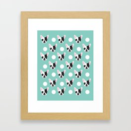 French Bulldog pattern polka dogs dog head funny dog meme cute gift for a dog lover frenchie owner Framed Art Print