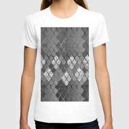 Mermaid Scales Silver Gray Glitter Glam #1 #shiny #decor #art #society6 T-shirt