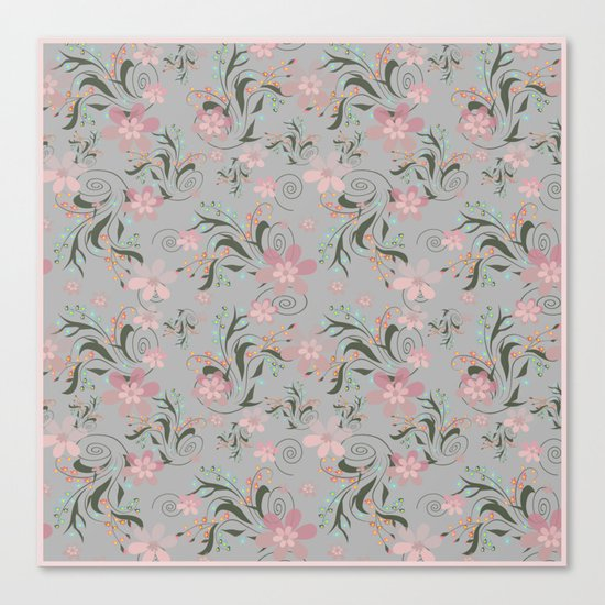 Retro . Pink flowers on grey background . Canvas Print