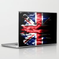 british flag Laptop & iPad Skins featuring British flames  by Cozmic Photos
