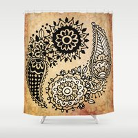yin yang Shower Curtains featuring Yin Yang by Jenndalyn