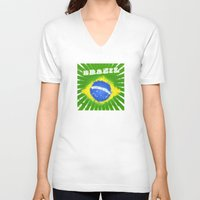 brazil V-neck T-shirts featuring Brazil  by morganPASLIER