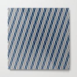 Gray and Blue Stripes Metal Print