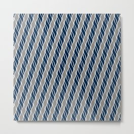 Gray and Blue Stripes Metal Print