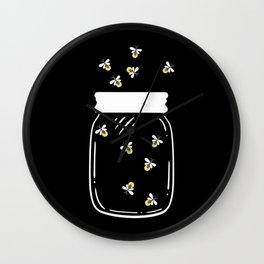 Firefly Latern Glass Of Fireflies Catch Them Wall Clock