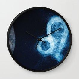 Leo Zodiac Sign. Astrology women night sky background Wall Clock
