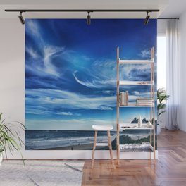 Beach blue windswept day Wall Mural