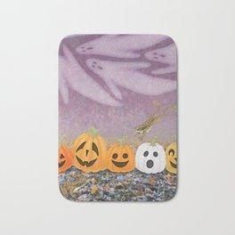 wood frogs, smiling pumpkins, & ghost clouds Bath Mat